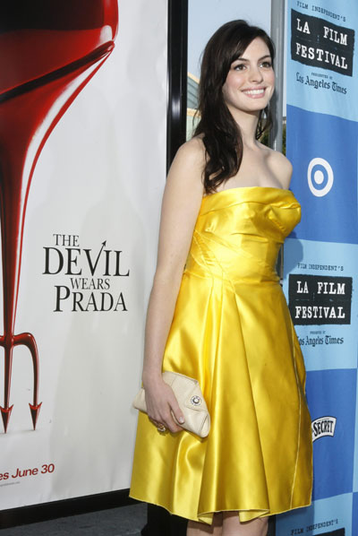 Actress Anne Hathaway, star of the film 'The Devil Wears Prada',