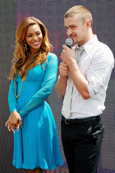 Beyonce, Justin at nominations conference for MTV awards