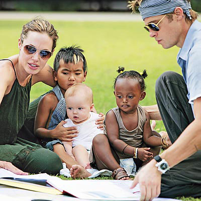 Angelina Jolie and Brad Pitt ¡§C with children