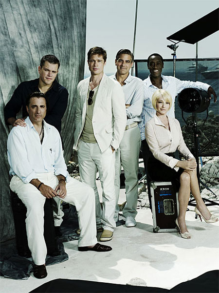brad pitt george clooney. Cast members Andy Garcia, left, Matt Damon, Brad Pitt, George Clooney,
