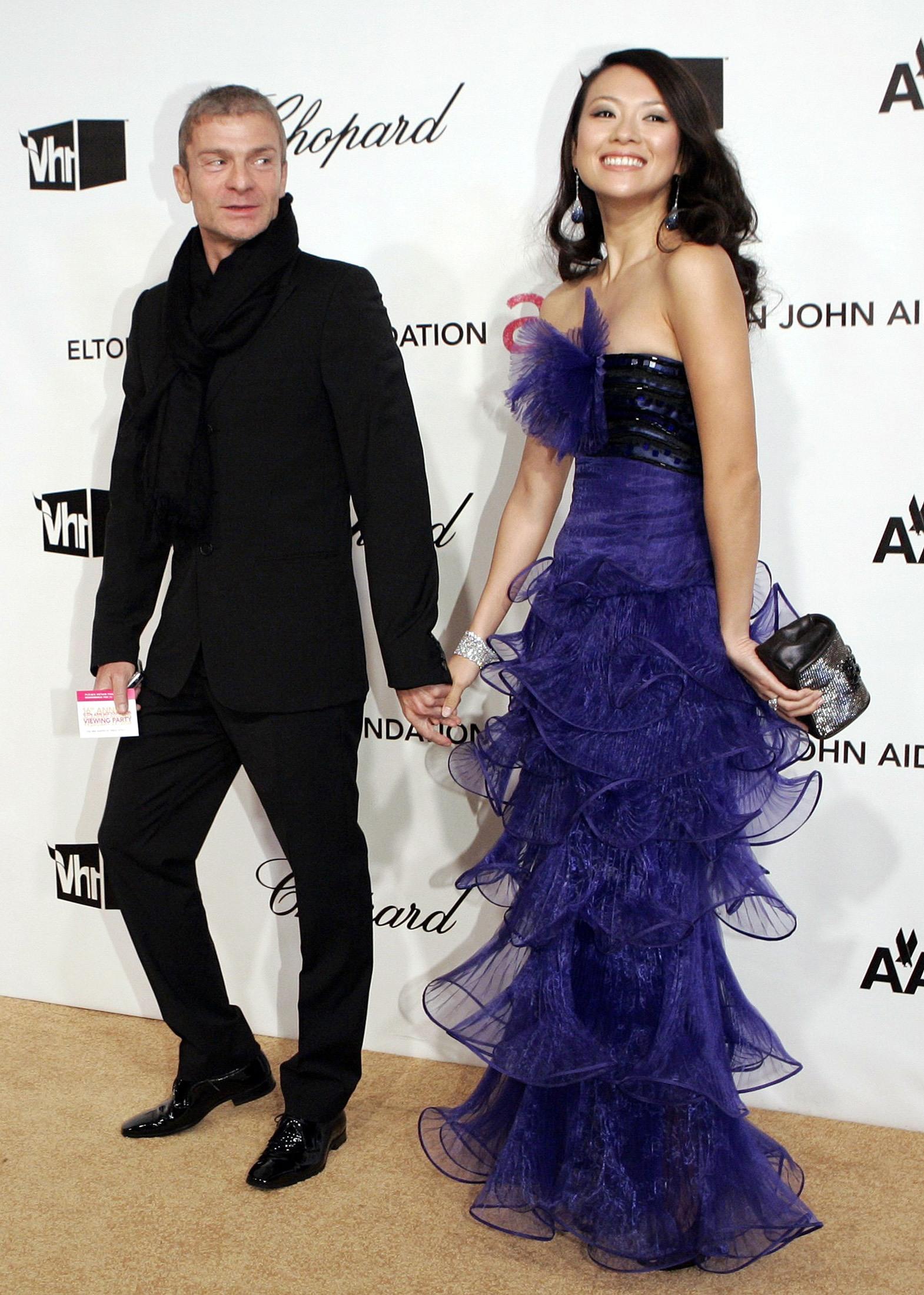 Zhang Ziyi and Vivi Nevo pose at Annual Elton John AIDS Foundation