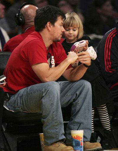 Adam Sandler and Wahlberg attend NBA basketball game Adam Sandler