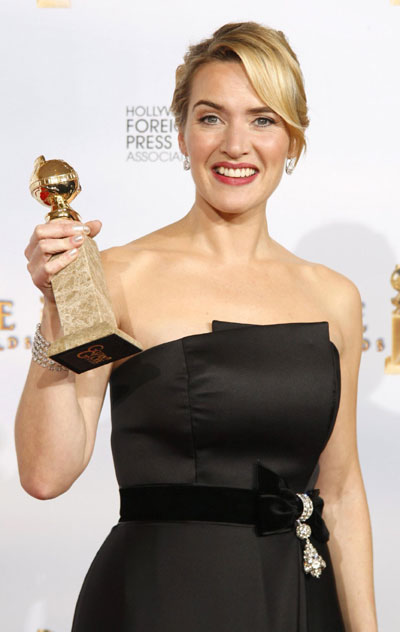 Kate Winslet's beautiful breasts. Kate Winslet holds up her award for Best ...