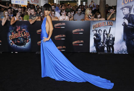 emma stone zombieland premiere. Emma Stone and Amber Heard
