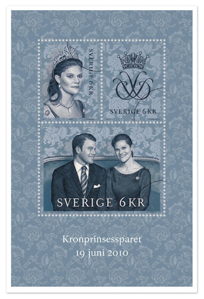Sweden's Crown Princess Victoria and her fiance wedding postage stamps