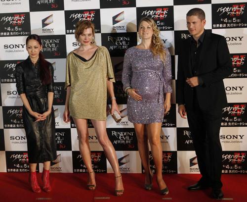Actors Mika Nakashima, Milla Jovovich, Ali Larter and Wentworth Miller ...