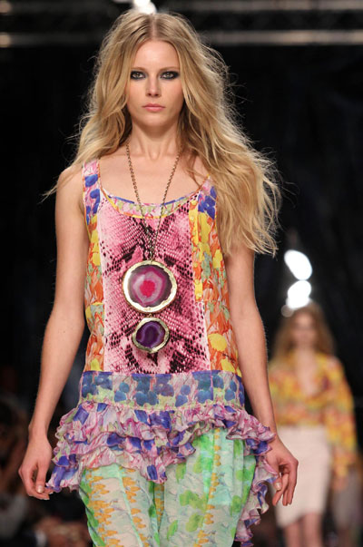 Models present Italian designer Roberto Cavalli's collections
