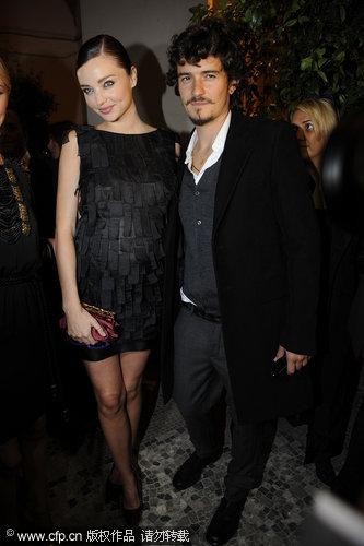 Orlando Bloom and Miranda Kerr in Milan for fashion week