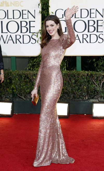 Anne Hathaway 68th Annual Golden Globe Awards. Anne Hathaway arrives at the 68th annual Golden Globe Awards