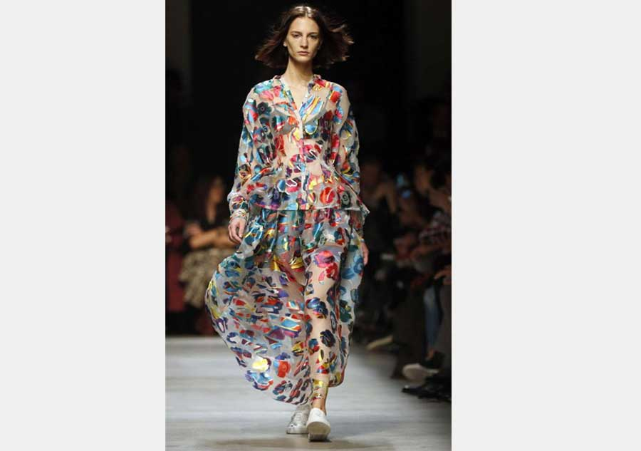 Model Presents A Creations As Part Of Emilio Pucci Spring