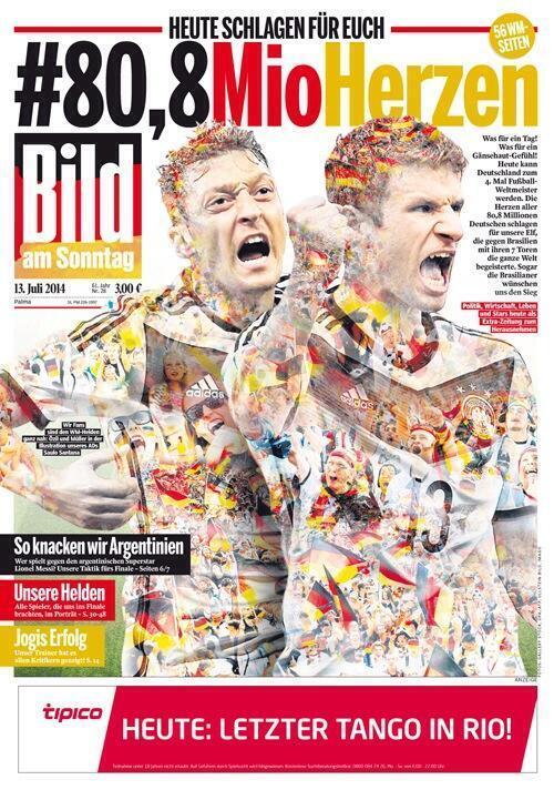 德国某报纸打出正版大幅海报,为德国队打气