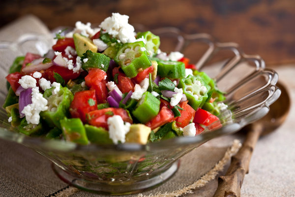 Okra, avocado and tomato salad with chili and lime juice