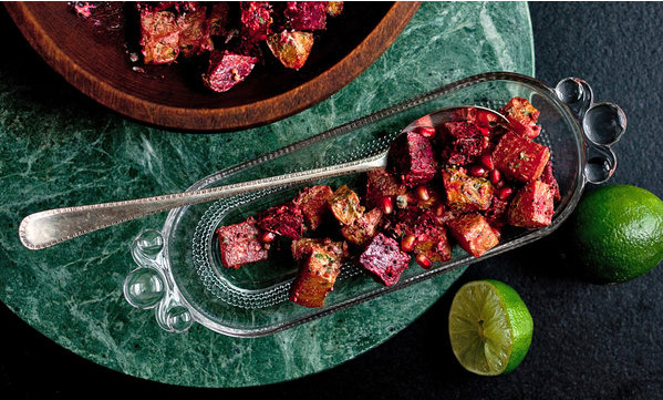 Roasted beets with chiles, ginger, yogurt and Indian spices