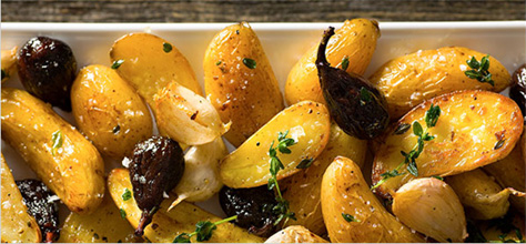 Roasted fingerling potatoes with dried figs and thyme