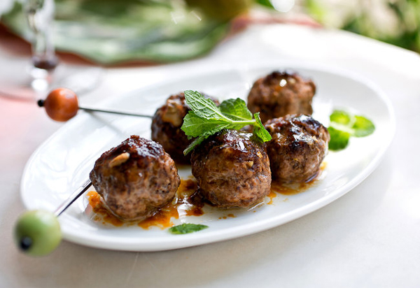 Pomegranate-glazed lamb meatballs