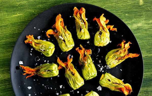 Zucchini blossoms with burrata and tapenade