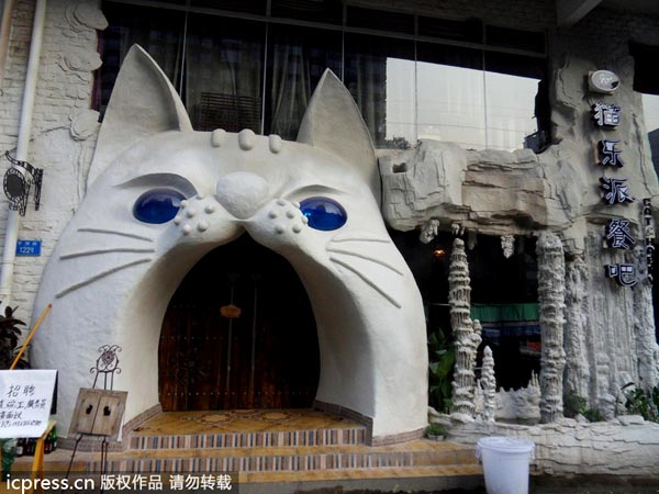 Cat-themed restaurant in Chongqing