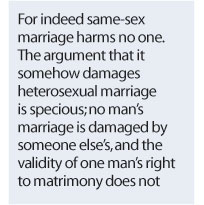 Argument on same sex marriage