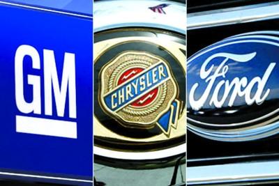 图为:三大汽车公司标志,左起:通用、克莱斯勒、福特高清图片