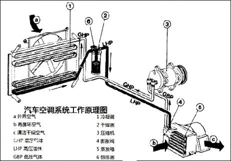 汽车空调系统由压缩机(空调泵),制冷剂管路,冷凝器,膨胀阀,制冷剂干燥图片