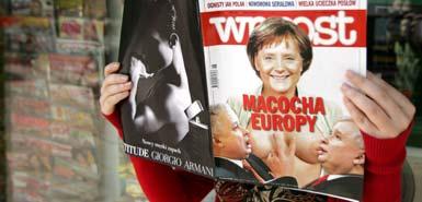 默克尔袒胸哺乳卡钦斯基兄弟?波兰杂志激怒德