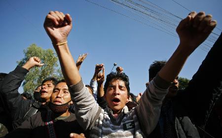 2009年11月2日,纳萨尔派武装组织成员及其支持者在举行反政府