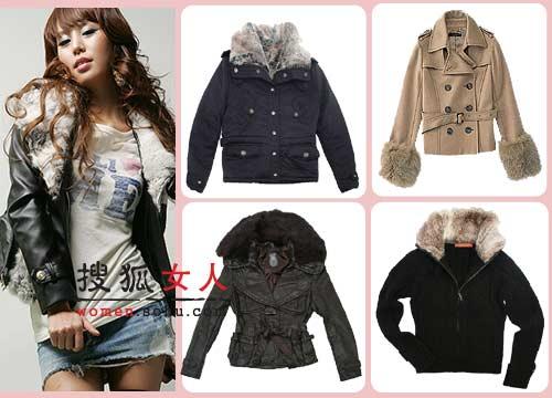 暖又时尚的短款大衣,其款式多变,且加入了流行的皮草元素,为你