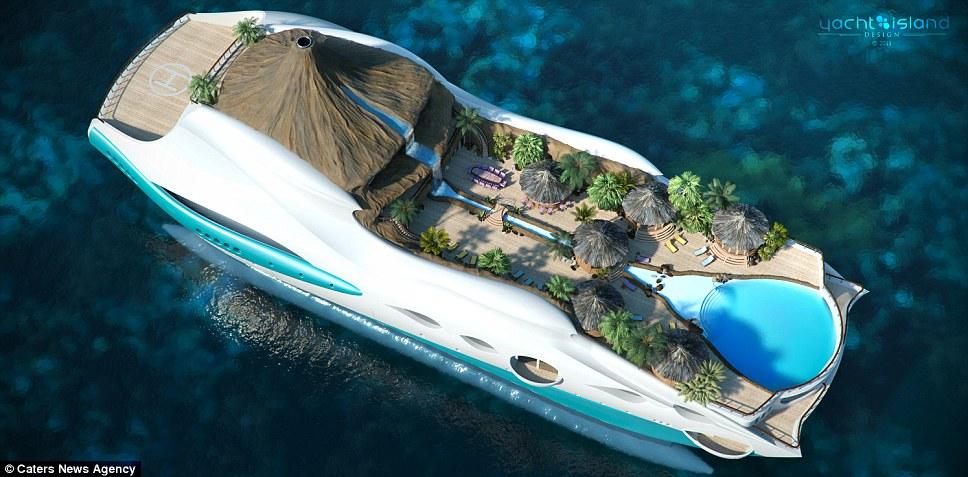 """造型新奇的豪华游艇,除了基本的生活和娱乐设施外,船上甚至还有""""火山"""""""