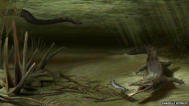 这颗稀有的琥珀化石含有可以显示羽毛进化历程的标本(来源:英国媒体)  远古时期的生物种类主要是两栖类爬行动物(来源:英国媒体) 据英国媒体9月15日报道,哥伦比亚最大的露天煤矿日前发掘出一具长6米左右的远古鳄鱼的化石遗骨。美国考古研究人员对这具鳄鱼化石进行了化验,并在《古生物杂志》上发表了相关报告。 科学家在报告中指出,这种远古鳄鱼生活在距今约6000万年前古新世时期的热带雨林中。古新世时期是两栖类爬行动物的天地,当时主要的物种就是鳄鱼、巨蛇与乌龟。据悉,这种远古鳄鱼与一种名为泰坦蟒(Titanoboa