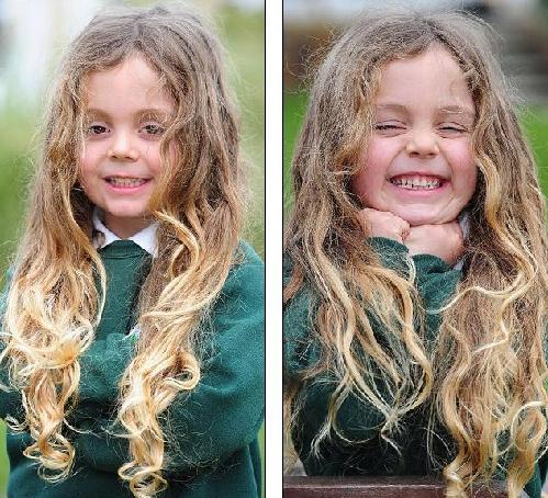 只因母亲酷爱金色卷发 英5岁男孩从未剪头长发及腰