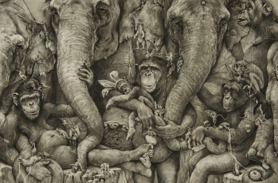 哈莱尔说这幅铅笔画反映了自己的生活
