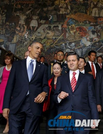 奥巴马 墨西哥城/美国总统奥巴马与墨西哥总统培尼亚5月2日在墨西哥城举行会晤。...