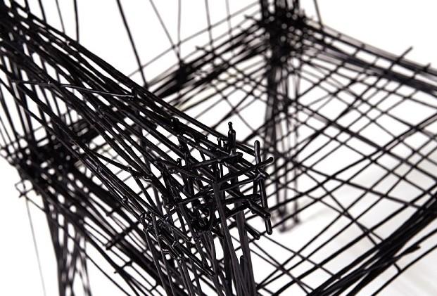 """韩国设计师用钢丝打造""""素描""""家具 看似平面涂鸦"""