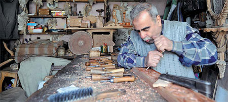 Salah A Woodcarver In The Old City Of Damascus Syria Said