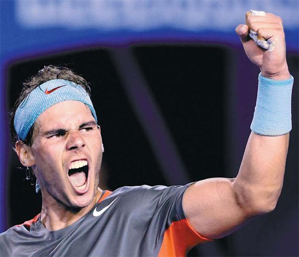 Rafael Nadal Of Spain Celebrates His 7 6 6 3 6 3 Sweep Of