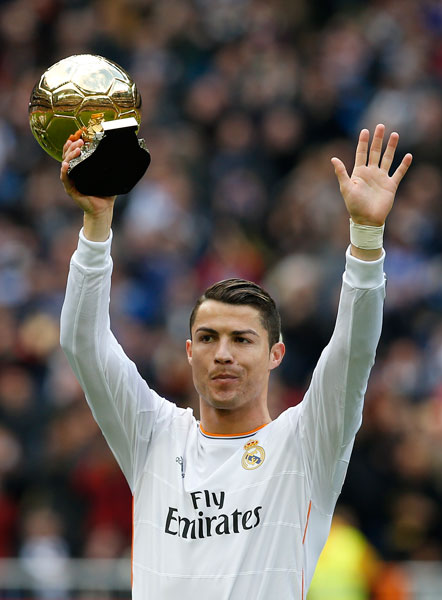 real madrid s cristiano ronaldo shows off his ballon d or