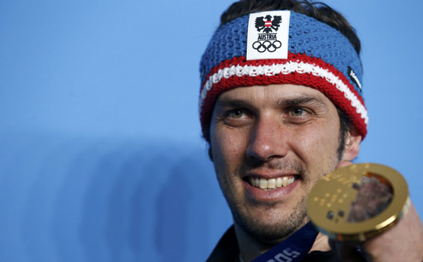 Mario Matt Poses With His Gold Medal After The Men