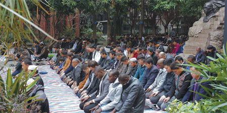 Chinese And African Muslims Pray At The Weekly Jumu Ah At