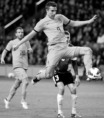 Robin Van Persie Scores During The Netherlands 2 0 Group D