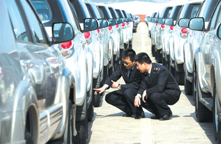 Inspectors Check Imported Cars At A Port In Qingdao