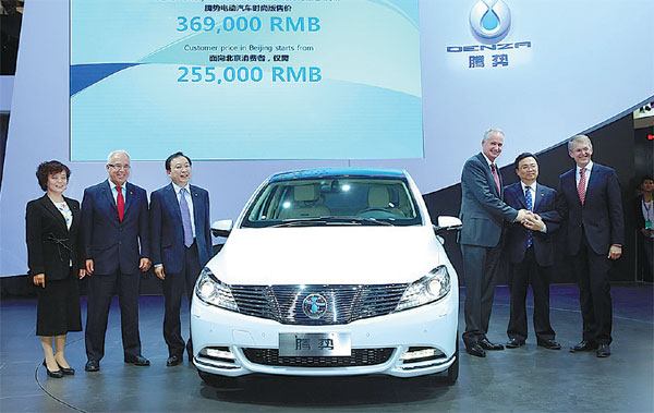 the denza pure electric car developed by shenzhen byd daimler new