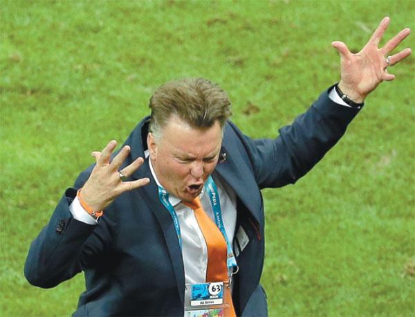 Netherlands Head Coach Louis Van Gaal Reacts During The