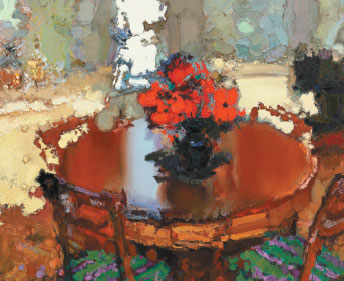 Red Flowers On Table By Zhang Jingsheng In 2013 Is