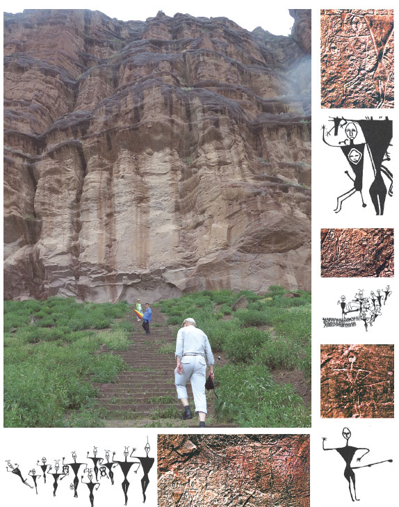 Visitors Climb The Steps To Take A Close Look At The Rock Art Cui Jia China Daily