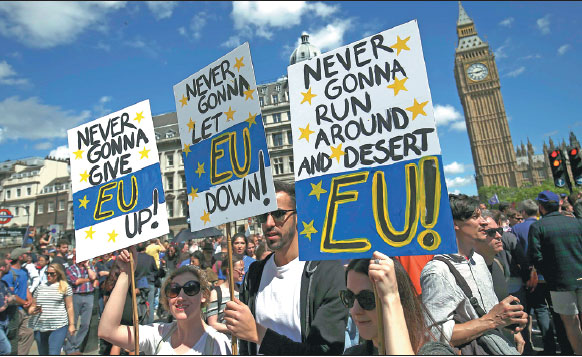 People Hold Banners During A March For Europe