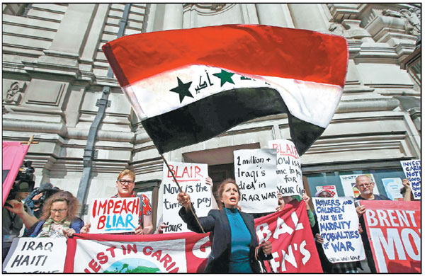 demonstrators protest before the release of the john chilcot report into the iraq war at the. Black Bedroom Furniture Sets. Home Design Ideas