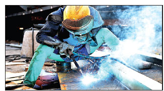 a welder works at a steel plant in lianyungang jiangsu ...