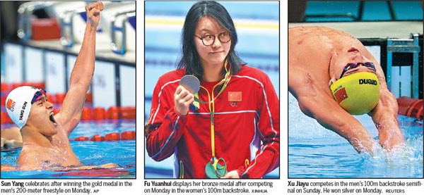 Sun Yang Celebrates After Winning The Gold Medal In The