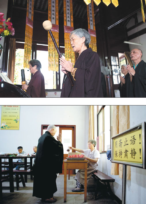 Top Elderly Residents All Lay Buddhists Chant Scriptures