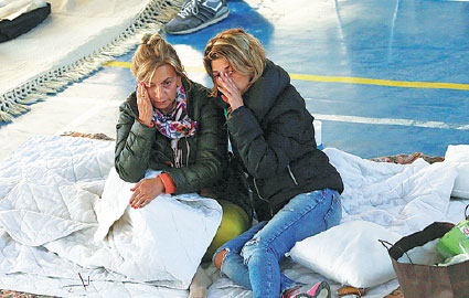 Survivors Rest On Thursday After The Earthquake That Rocked Central Italy The Previous Day Ciro